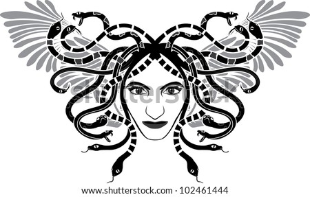 medusa gorgon head with wings