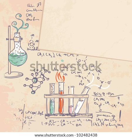 old chemistry laboratory vector