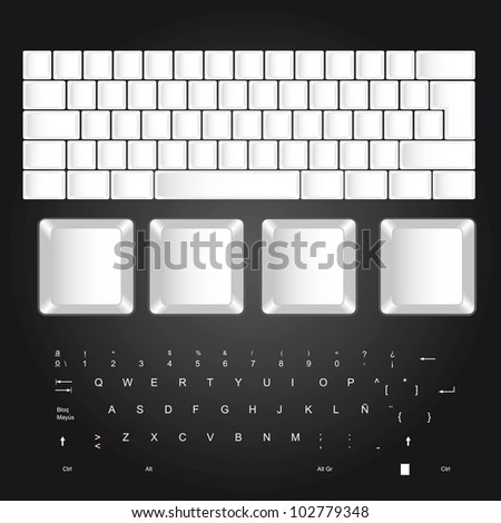white blank keyboard over black