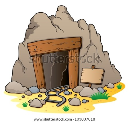 cartoon mine entrance   vector