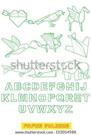 font  alphabet of origami