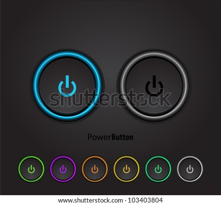 black power buttons with led
