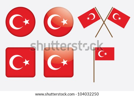 set of badges with flag of