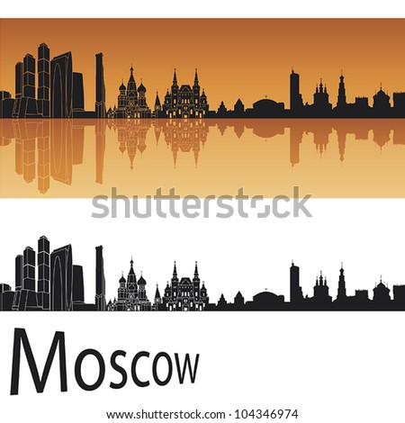 moscow skyline in orange
