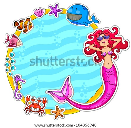 frame with sea creatures and a