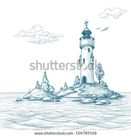 lighthouse island in the sea