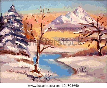 winter landscape vectorization