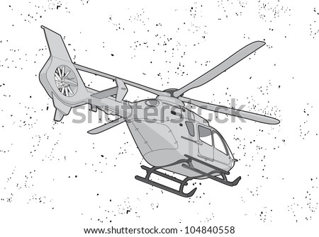 black outline vector helicopter