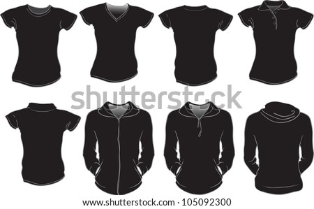 vector set of female shirts