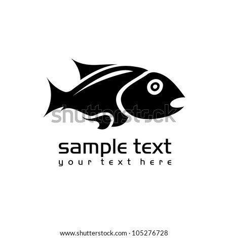 black isolated fish on white
