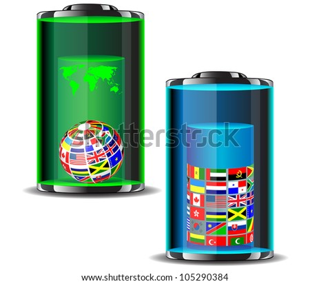 flags of the world in batteries