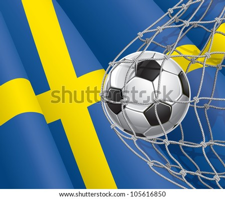soccer goal swedish flag with