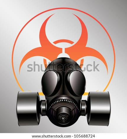 black gas mask with biohazard