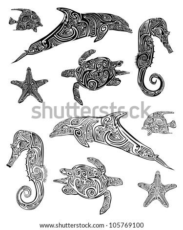 tribal sea animal tattoo. Black Bedroom Furniture Sets. Home Design Ideas