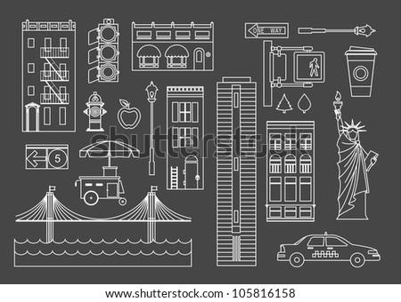 vector set of new yourk city