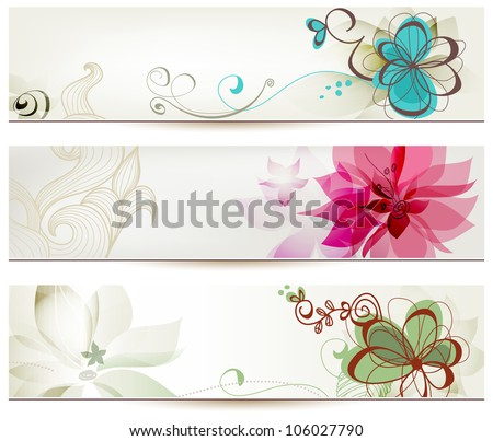 floral banners vector retro