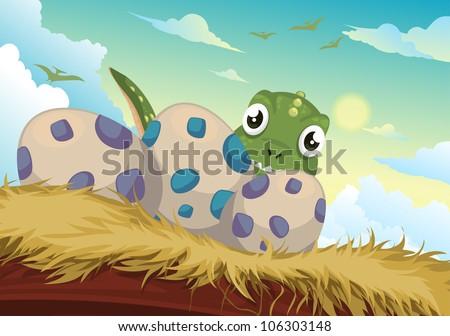 beautiful cartoon dinosaur and