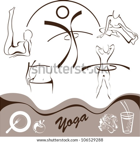 yoga  set icon  vector