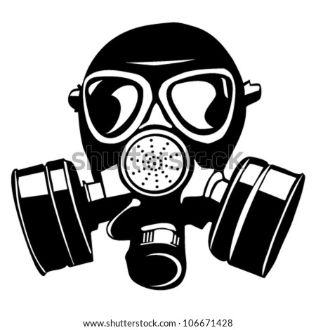 gas mask stencil isolated over