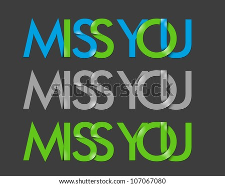 vector set of miss you text
