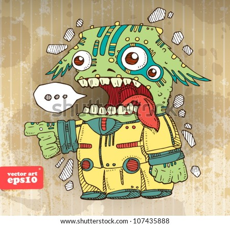 funny alien invader vector