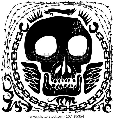 skull banner with chains and