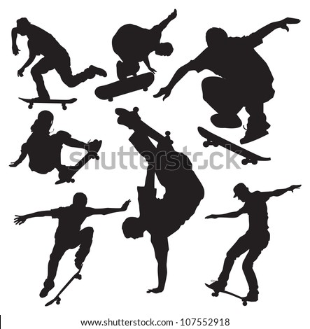 vector skateboarders silhouettes