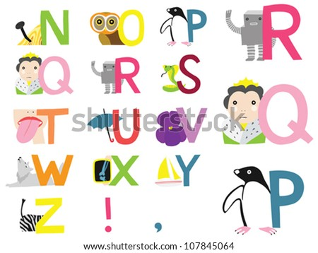 illustrated alphabet n z