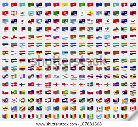big set wavy flags vector