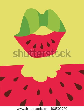 lips eating watermelon poster
