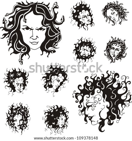 medusa faces set of black and