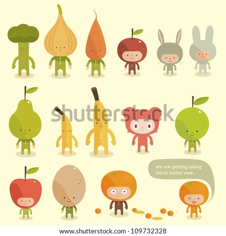 vector children in costumes
