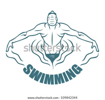swimming label   vector