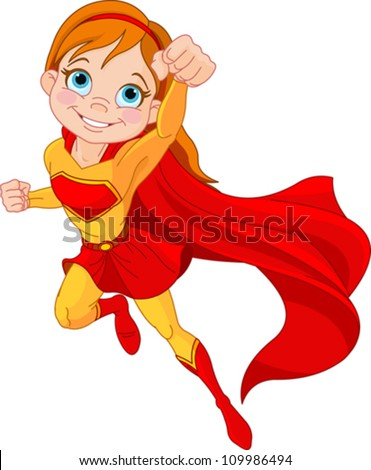 illustration of super hero girl