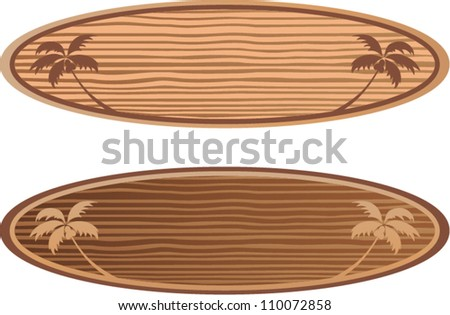 vector wooden surf boards with