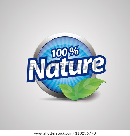 100 percent nature blue button