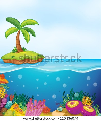illustration of coral in water