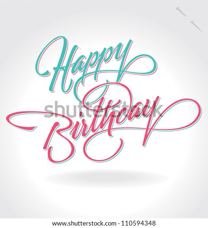 'happy birthday' hand lettering