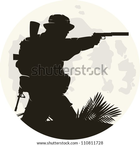 silhouette of soldier in action