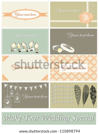vector set of cards for wedding