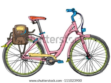 female bicycle   cartoon