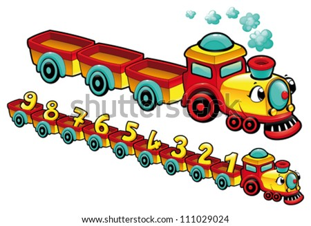 funny train cartoon and vector