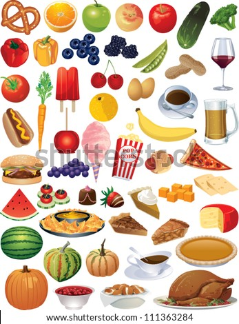 a collection of vector food