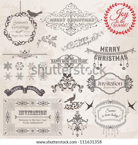 vector set  christmas