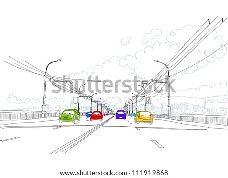 sketch of traffic road in city