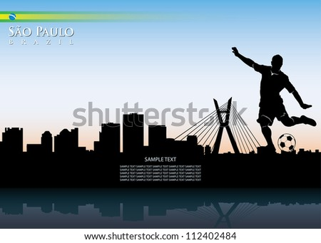 sao paulo skyline with soccer