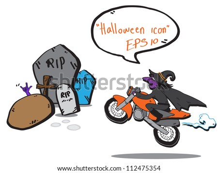 witch biker  grave yard