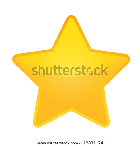 shiny golden star icon on white
