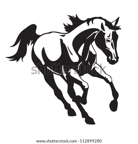 Running Horse Clipart Black And White Running Horse Black And White