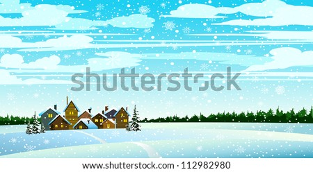 winter landscape with houses